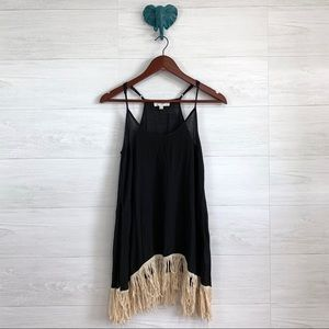 Umgee Black Fringe Hem Scoop Neck Tunic Tank